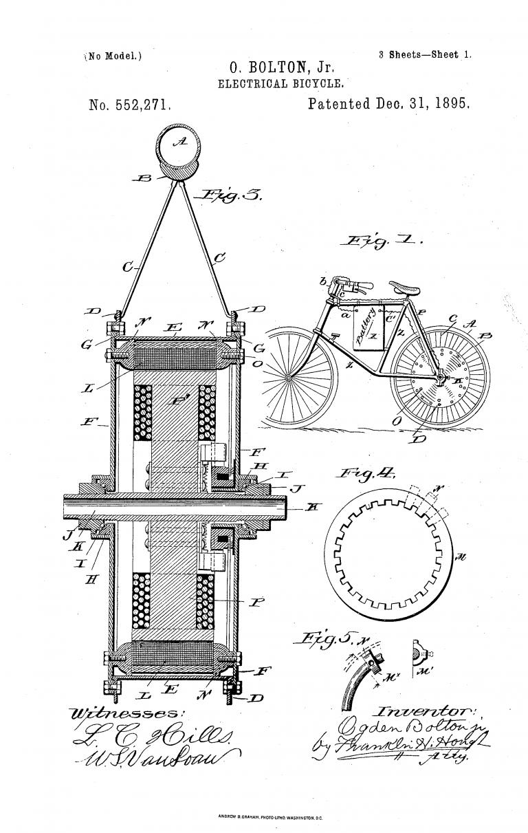 הפטנט הראשון של אופניים חשמליים